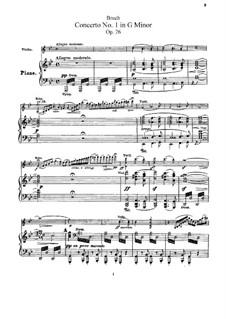 Концерт для скрипки с оркестром No.1 соль минор, Op.26: Версия для скрипки и фортепиано by Макс Брух
