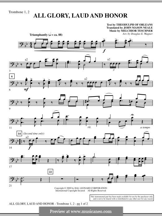 All Glory, Laud and Honor: Trombone 1 & 2 part by Melchior Teschner