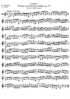 Пятьдесят легких и мелодических этюдов для скрипки, Op.74: Тетрадь II, No.26-50 by Франц Вольфарт
