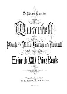 Фортепианный квартет фа минор, Op.6: Партитура by Prinz Heinrich Reuss