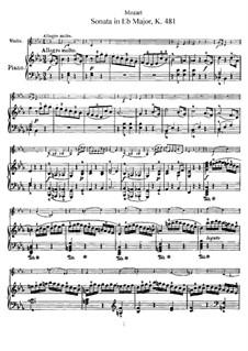 Соната для скрипки и фортепиано No.33 ми-бемоль мажор, K.481: Партитура, сольная партия by Вольфганг Амадей Моцарт