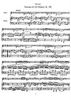 Соната для скрипки и фортепиано ми-бемоль мажор, K.58: Партитура, сольная партия by Вольфганг Амадей Моцарт