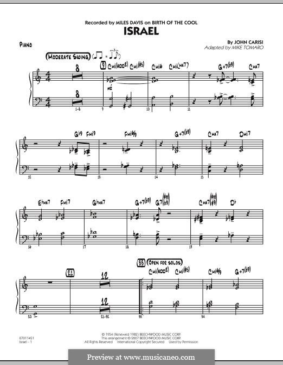 Israel (Miles Davis): Партия фортепиано by John Carisi