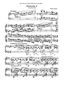 Баллада No.1 ре-бемоль мажор, S.170: Для фортепиано by Франц Лист