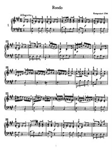 Рондо ля мажор, WoO 49: Для фортепиано (с аппликатурой) by Людвиг ван Бетховен