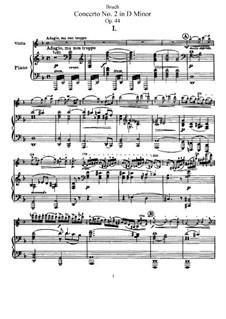 Концерт для скрипки с оркестром No.2 ре минор, Op.44: Аранжировка для скрипки и фортепиано – партитура, сольная партия by Макс Брух