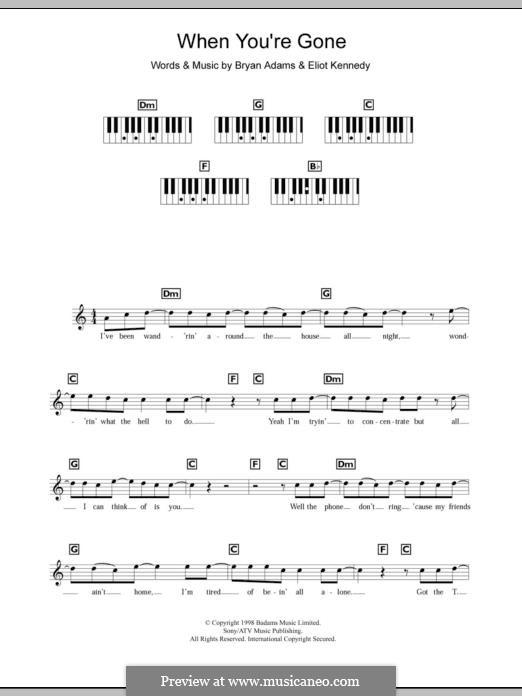 When You're Gone (Bryan Adams and Melanie C): Для фортепиано by Bryan Adams, Eliot Kennedy