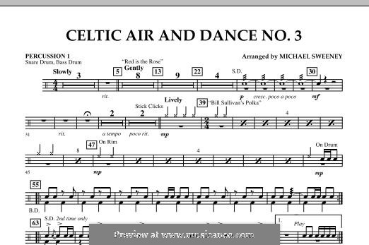 Celtic Air and Dance No.3: Percussion 1 part by folklore