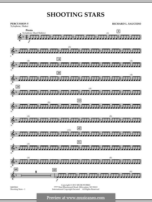Shooting Stars: Percussion 5 part by Richard L. Saucedo