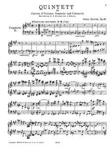 Фортепианный квинтет No.2 ля мажор, B.155 Op.81: Версия для 2 фортепиано в 4 руки – партия II фортепиано by Антонин Дворжак