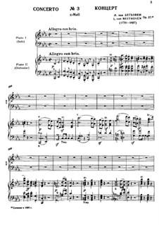 Концерт для фортепиано с оркестром No.3, Op.37: Версия для двух фортепиано в четыре руки by Людвиг ван Бетховен