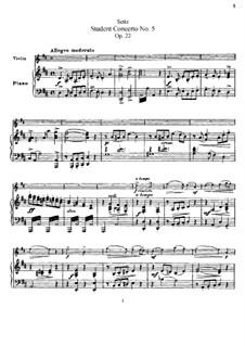 Ученический концерт No.5 для скрипки и фортепиано, Op.22: Партитура by Фридрих Зейц
