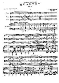 Фортепианный квартет No.1 до минор, Op.15: Партитура, Партии by Габриэль Форе