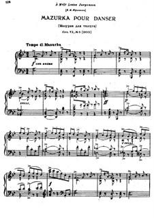 Восемнадцать пьес для фортепиано, TH 151 Op.72: No.6 Мазурка для танцев by Петр Чайковский