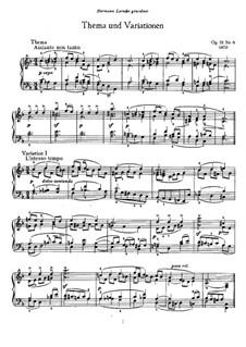 Шесть пьес для фортепиано, TH 133 Op.19: No.6 Тема и вариации by Петр Чайковский
