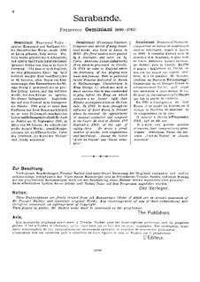 Сарабанда, Op.4: Версия для скрипки и фортепиано – партитура by Франческо Джеминиани
