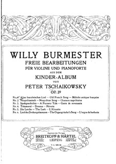 No.16 Старинная французская песенка: Аранжировка для скрипки и фортепиано by Петр Чайковский
