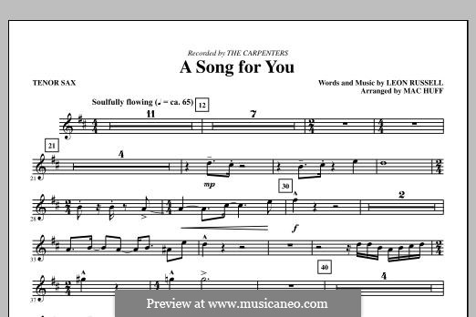 A Song for You: Tenor Saxophone part by Leon Russell