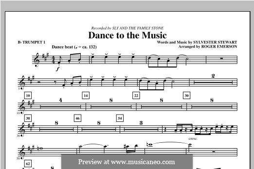 Dance to the Music (Sly and The Family Stone): Bb Trumpet 1 part by Sylvester Stewart