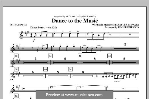 Dance to the Music (Sly and The Family Stone): Bb Trumpet 2 part by Sylvester Stewart