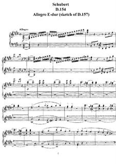 Соната для фортепиано ми мажор (Неоконченная), D.154: Аллегро by Франц Шуберт