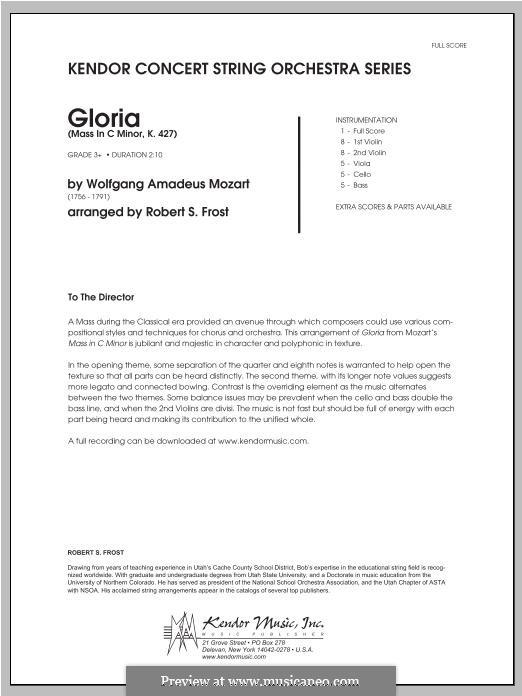 Большая месса до минор, K.427, K.417a: Gloria, for strings – Full Score by Вольфганг Амадей Моцарт