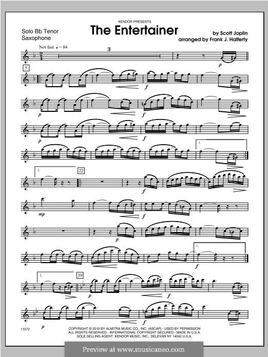 The Entertainer (Printable Scores): For tenor saxophone and piano – tenor saxophone part by Скотт Джоплин
