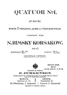 Струнный квартет фа мажор, Op.12: Партитура by Николай Римский-Корсаков