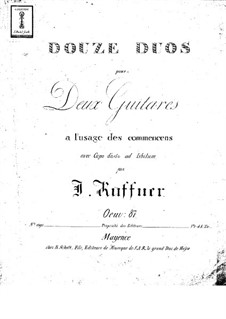 Twelve Duets, Op.87: Twelve Duets by Йозеф Кюффнер