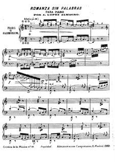 Романс без слов для фисгармонии (или фортепиано): Романс без слов для фисгармонии (или фортепиано) by Antonio López Almagro