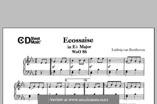 Экосез ми-бемоль мажор, WoO 86: Для фортепиано by Людвиг ван Бетховен