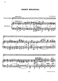 Adagio Religioso for Violin and Piano, Op.1: Партитура by Оле Булл