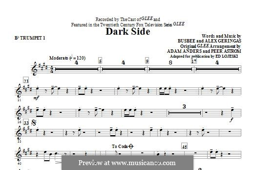 Dark Side (Kelly Clarkson): Bb Trumpet 1 part by Busbee, Alexander Geringas