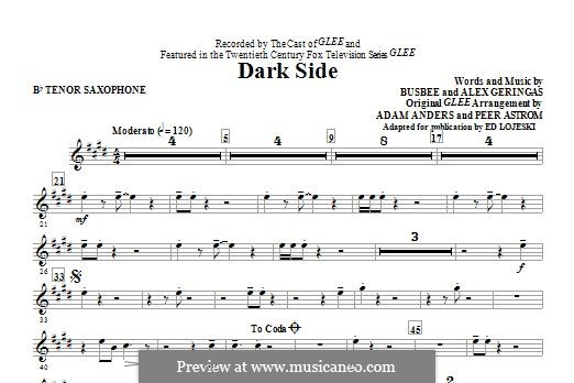 Dark Side (Kelly Clarkson): Bb Tenor Saxophone part by Busbee, Alexander Geringas