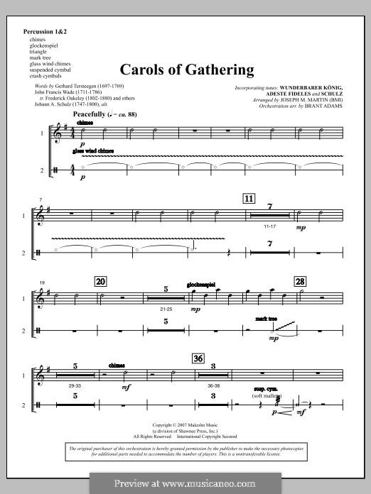 Carols of Gathering (from Season of Wonders): Percussion 1 & 2 part by Joseph M. Martin