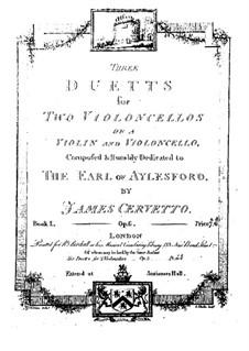 Три дуэта для двух виолончелей (или скрипки и виолончели), Op.6: Партия II виолончели by Джакоббе Базеви Черветто