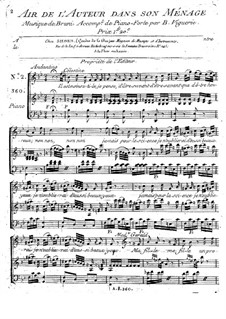 L'auteur dans son ménage: Aria, for voice and piano by Антонио Бартоломео Бруни
