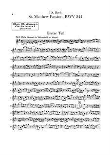 Вся оратория: Оркестр I, Партии гобоев by Иоганн Себастьян Бах