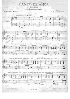 Canto de amor: Для голоса и фортепиано by Antonio López Almagro