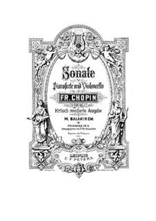 Соната для виолончели и фортепиано соль минор, Op.65: Партитура by Фредерик Шопен