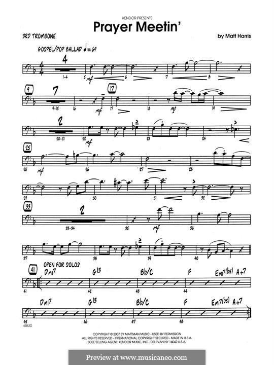 Prayer Meetin': 3rd Trombone part by Matthew Harris