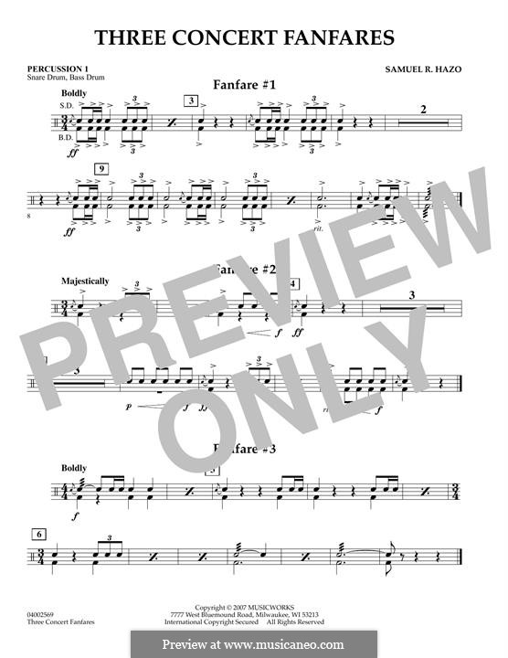 Three Concert Fanfares: Percussion 1 part by Samuel R. Hazo