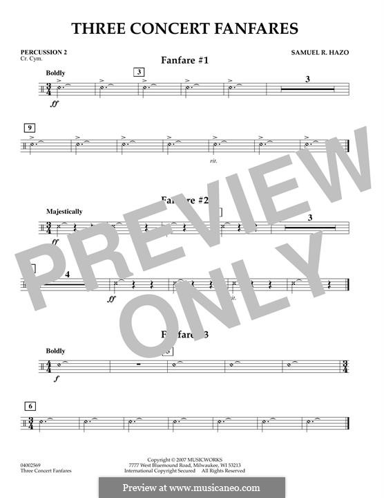 Three Concert Fanfares: Percussion 2 part by Samuel R. Hazo