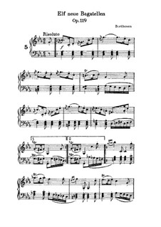 Одиннадцать новых багателей для фортепиано, Op.119: Багатель No.5 by Людвиг ван Бетховен