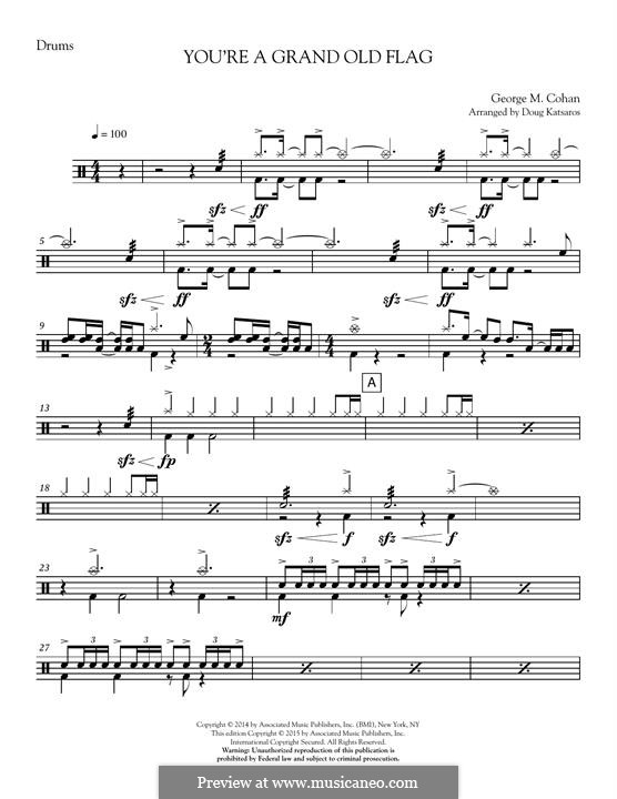 You're a Grand Old Flag: Drum Set part by George Michael Cohan