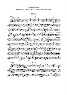No.1, 3, 10: Для оркестра – Партии валторн by Иоганнес Брамс