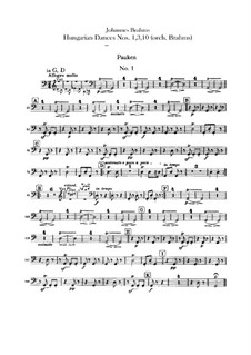 No.1, 3, 10: Для оркестра – Партии ударных by Иоганнес Брамс