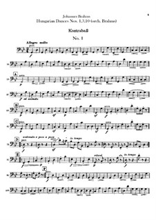 No.1, 3, 10: Для оркестра – Партия контрабаса by Иоганнес Брамс