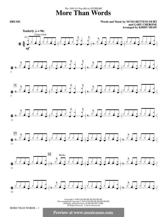 More Than Words (Extreme): Drums part by Gary Cherone, Nuno Bettencourt