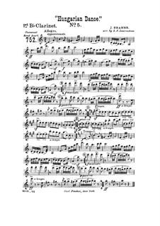 Танец No.5 фа-диез минор: Для духового оркестра – Партия первого кларнета in B by Иоганнес Брамс